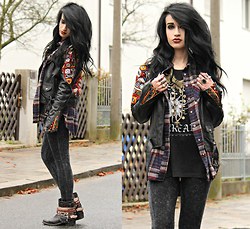 Tessa Diamondly - Spell Designs Embroidered Leather Jacket, Urban Outfitters Plaid Flannel Shirt - All I need is you.