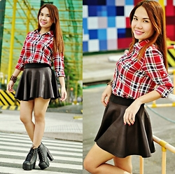Julie Lozada - Thrifted Plaid Shirt, Pink Fashion Skirt, Wholesale Dress.Net Shoes - Plaid Trend