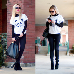 Anya R. - Gucci Sunglasses, Bcbg Turtleneck Sweater, Mossimo Sweatshirt, Express Pants, Tj Maxx Tote Bag, Bcbg Ankle Boots - Panda Print Sweater