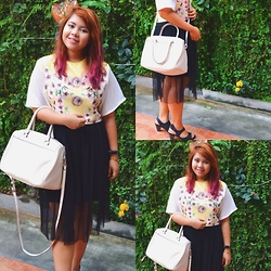 Dana Lopez - Gtwbysm Yellow Scuba Top, Hong Kong Thrift Black Skirt, Black, Parfois White Bag - Say It With Florals