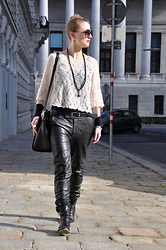 Patrizia St - Day Birger Et Mikkelsen Leather Pants, Mjus Booties, H&M Bag, Dsquared2 Sunnies - In love with boyfriend!