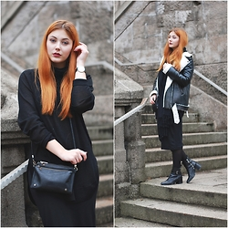 Marie Schöniger - Deena & Ozzy Bag, Missguided Jacket, Pepe Jeans Boots, H&M Turtleneck Sweater - All Black Again