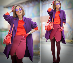 Galant-Girl Ellena - Maxmara Coat, Stuart Weitzman Over The Knee Boots, Opening Ceremony Bag, Ray Ban Sunglasses - Vivid Splash!