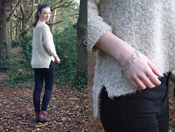 Nina JC - Lessthan10pounds Dipped Hem Fluffy Oversized Jumper, Celeb Look High Waisted Black Skinny Fit Disco Jeans, Jewelsy Silver Cross Bracelet, New Look Burgundy Cuff Lace Up Ankle Boots - The Perfect Winter Jumper
