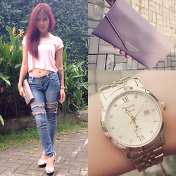 Niki Goldo - Stradivarius Crop Top, Roxy Skinny Jeans, Schutz Heels, Bellagio Wallet, Alexandre Christie Watches - Cloudy Wednesday