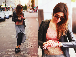 Jessica Suzan - Vintage Sunglasses, Simsalabim Indian Blouse, H&M Jersey Skirt, Asos Velvet Leggings, Vero Moda Faux Leather Jacket, Asos Truffel Boots, Casio Wristwatch - Indian Summer