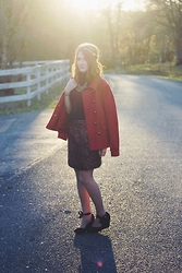 Jenna O - Old Navy Red Coat, Urban Outfitters Wedges, Forever 21 Skirt - Christmas Magic