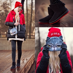 Oksana Orehhova - Parka, Boots, Hat, Bag - BAD HAIR DAY