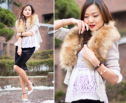 Zoya Kim -  - Usual things with unusual wearing: fur collar & velvet skirt