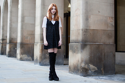 Hannah Louise - Oh My Love Lurex T Shirt, Motel Black Tinsel Dress, Asos Thigh High Boots - Black Tinsel Dress