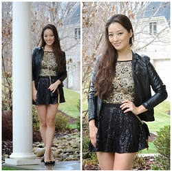 Kimberly Kong - Deb Top, Deb Skirt, Ann Taylor Jacket, Saint Laurent Ysl Bag, Kate Spade Shoes - The Sequin Skater Skirt