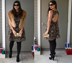 "Sera A. - Chanel Cat Eye Sunglasses, Zara Faux Fur Stole, Alice And Olivia Embroidered Dress, Zara Geometric Clutch, Merona Black Tights, Franco Sarto Black Suede Heels, Mac ""Russian Red"" Lipstick - Holiday Glam"