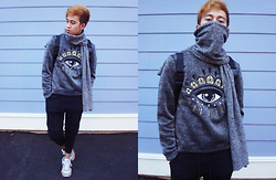 Joseff Lopez (Seffinisto) - Kenzo Grey Eye Sweater, Forever 21 Ribbed Knee Black Joggers, New Balance Light Grey Runners - Stand by You