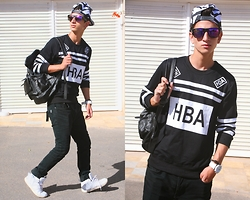 Abdelhadi Bernia - Sammydress Stylish Striped Hip Hop Hat For Men, Choies Wayfarer Sunglasses With Blue Mirror Lens, Sammydress Casual Style Round Neck Color Block Letters And Stripes Print Long Sleeves Cotton Blend Sweatshirt For Men, Sammydress Casual Stylish Men's Backpack With Solid Color And Pockets Belt Design - HBA