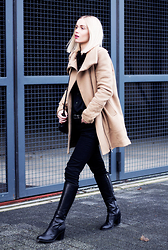 Anita VDH - Bershka Camel Long Coat, Zara Black Jeans, Duo Boots Black Leather Long - Day After