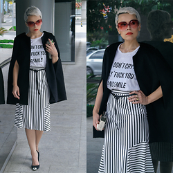 Priscila Diniz - Skirt, Cape/Blazer, T Shirt, Sunnies, Shoes - DON'T CRY, SAY FUCK YOU AND SMILE