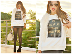 Nekane Smith - Pull & Bear Sweatshirt, Sheinside Fur Vest, Zara Skirt, H&M Heels - Christmas Philosophy