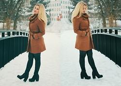 Kristabelle I - River Island Black Ankle Boots, H&M Camel Coat, H&M Faux Leather Pants - In ♥ with winter time