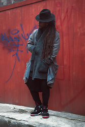 LEXICON THE - H&M Hat, Bruce Lee Overcoat, Zara Knit Cardigan, Nike Jordan Iv - SPACE COWBOY