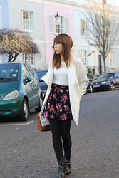 Tiny Scribbles - Mango White Coat, H&M Floral Skirt - Floral Winter