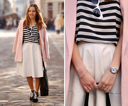 Iren P. - River Island Baby Pink Cocoon Coat, Oasap Striped T Shirt, Abaday Faux Leather White Midi Skirt, Asos Perforated Shopper Bag, Oasap Black And White Sneakers, Cat Face Watch, Clover Silver Bracelet, Roman Numeral Ring - SPORTY PASTELS