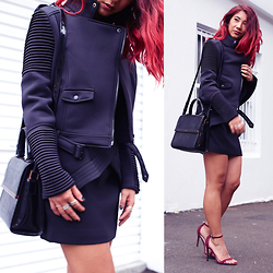 Jessie Khoo - Missguided Nicole X Scuba Biker Jacket, Finders Keepers The Label Pursuit Dress, Missguided Clara Strappy Sandal, Ted Baker Savannah Quilted Top Handle - Pursuit