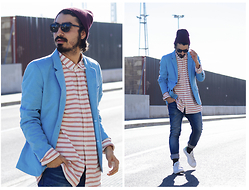 Charlie Cole - Northweek Sunglasses, Pull & Bear Blue Blazer, H&M Stripes Shirt, Pull & Bear Denim Jeans, Adidas Stan Smith - ON MY OWN WAY