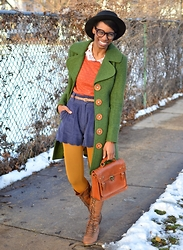 Sushanna M. - Knitted Dove Forest Green Wooden Button Coat, Jollychic Orange Gold Threaded Eyelet Sweater, Dear Creatures Navy Blue Corduroy High Waisted Shorts, Thrifted Brown Braided Satchel, Multi Color, Multi Pattern Iphone Case - Pumpkin & Squash