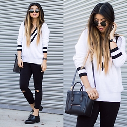 Linh Nguyen - Wildhearts Deep V Sweater, Asos Jeans, Zara Oxfords, Nasty Gal Belmont Sunnies - Boys Club