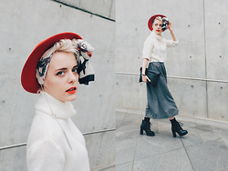 Alex T - Vintage Red Hat, Vintage Scarf, H&M Cropped Sweater, Stila Red Matte Lipstick - SFW SS/2015 day #4