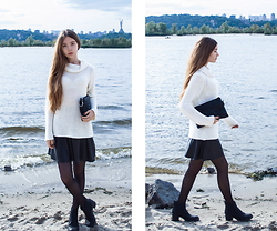 Nastya Titarenko - Topshop Leather Skirt, Zara Owersize Sweater, H&M Chelsea Boots - Cold day