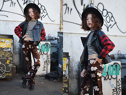 Q2 HAN - Q2han Palazzo Pants, Lovelywholesale Pleather Jacket, Sheinside Striped Crop Top, Tobi Boots - Palazzo Much