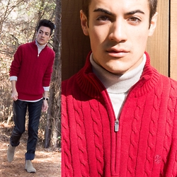 Armando Maldonado - Izod Knit Sweater, Urban Outfitters Faux Leather Pants - Red Knit & Leather