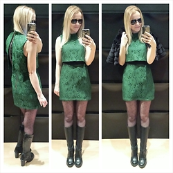 Gabriella B - Topshop Green Layered Lace Dress, Dr. Martens Black Leather Heeled Biker Boots, Star By Julien Macdonald Black Faux Fur Cropped Jacket - MAY OUR WISHES COME TRUE