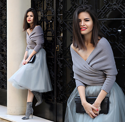 Adriana Gastélum - Sheinside Wrap Sweater, Alexandra Grecco Tulle Skirt, 3.1 Phillip Lim Clutch, Guess? Booties - Happy New Year