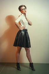 Wendy Pomajbikova - Shirt, Leather Like Skirt, Open Toe Boots - Happy New Year