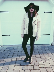 Alexis Nigro - American Apparel Wool Floppy Hat, Unif Sheep Jacket, Bdg Twig High Rise Jean, Jeffrey Campbell Black Boots - Black Sheep