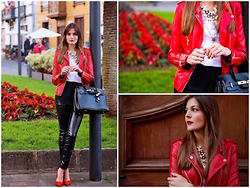Marianela Yanes - Sheinside Jacket, Queens Wardrobe Pants, Bershka Heels - Red Biker