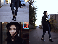 Pxkin - Forever 21 Long Knit Sweater, Boy London Tee, Boyfriend Denim, Oxford Shoes, H&M Hat - Boyfriend style