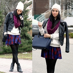 Tweety Ho - Forever 21 Tartan Skirt, Zara Knitted Sweater, Zara Leather Biker Jacket, Michael Kors Handbag - A Warm Winter