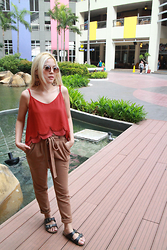 Kash Zabala - Aldo Sunglasses, Forever 21 Dangling Earrings, Forever 21 Top, Mango Pants, Birkenstock Black Sandals - Tawny in Town