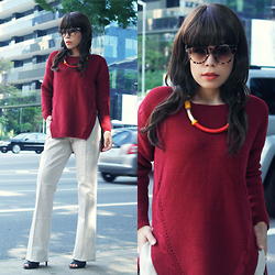 Priscila Diniz - Red Zippered Sweater, Aprict Linen Pants, Sunnies - BURGUNDY