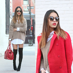 Leah Ho - Saint Laurent Bag, Detail On Blog Sunglasses, Zara Red Coat, Detail On Blog Thigh High Boots - NEW YEAR RED