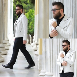 Gabriel - Forever 21 Jacket, Forever 21 Sunglasses, Hugo Boss Pants - The white biker jacket