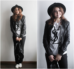 Helena Ivanova - Guess? Leather Jacket, Chic Wish Hat, Saint Laurent T Shirt - Basics are powerful