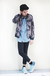 Alan John Rañada - Oxygen Bleached Denim Jacket, H&M Denim Shirt, New Balance Tri Color Sneakers - Bleached