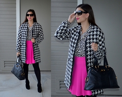 Sera A. - Zara Houndstooth Coat, Merona Black Tights, Nine West Black Suede Bootie Heels, Chanel Cat Eye Sunglasses, J. Crew Crystal Statement Necklace, J. Crew Heart Print Silk Blouse, J. Crew Hot Pink Skirt, Saint Laurent Ysl Muse Bag - Pattern Play