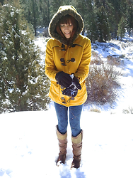 Emily L - Candies Cacoryn Cognac Boots, Forever 21 Yellow Toggle Coat With Fur Trim - I wrote a song for you