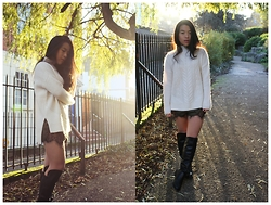 Thuy Pham - New Look Knitwear, Missguided Shorts, Dorothy Perkins Over Knee Boots - Lace and knits