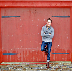 Wylie Fresne - Grayers Double Breast Cardigan, Duffie Worn Selvedge Denim, Burberry Scarf, Gordon Rush Boots - Red Barn Door